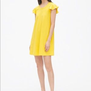NWT GAP yellow flutter sleeve swing dress